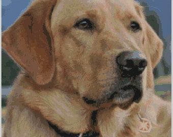 Proud, Elegant and Loyal Labrador Counted Cross Stitch Pattern for Instant Download