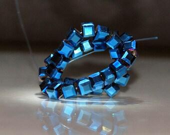 20 pcs 4mm Faceted Metallic Cobalt Blue Crystal Cube Beads
