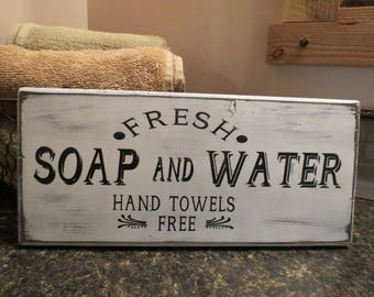 Fresh Soap and Water Bathroom Sign, Farmhouse Bathroom Decor, Home Decor, Wall Hanging, Farmhouse Wall Decor, Distressed