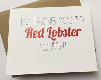 Red Lobster Card - Funny Love Card - Naughty Card - Sexy Card