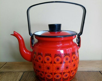 Vintage Finel Arabia daisy teapot kettle Red 1960s