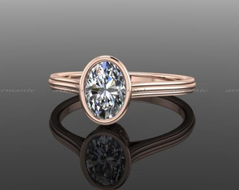 Forever Brilliant Oval Moissanite Engagement Ring, Engagement Ring, 14K Rose Gold, Promise Ring Re00147w