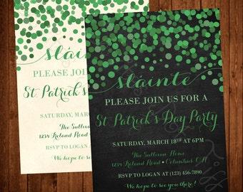 Sláinte, Modern, Classy, Falling Dots, Printable St. Patrick's Day Party Invitation