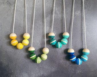 Hand painted Wooden Bead Necklace - Part of the Signature Collection