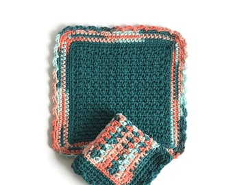 Crochet Dishcloth, Set of Two Teal and Salmon Dish Cloths, Cotton Washcloth, Handmade Wash Cloth