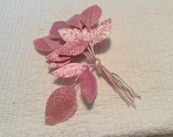 Vintage small pink velvet leaves 6 springs in a bunch