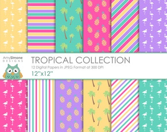 """Tropical 12""""x12"""" Digital Papers"""