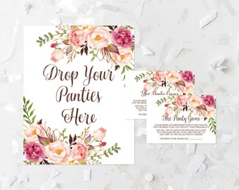 Bohemian Drop Your Panties Here Game Printable Pink Floral Bridal Shower Panty Game Boho Lingerie Game Bachelorette Party Guessing Game 265