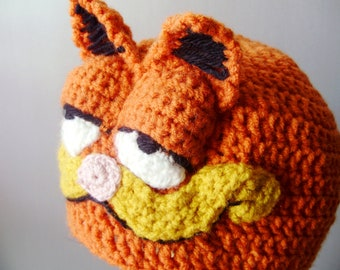 Crochet Garfield Hat - crochet animal costume hats for boys or girls - winter hats - crochet beanies for men or women