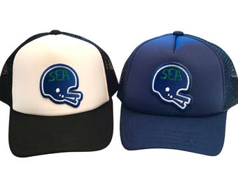 Seattle Football toddler hat. Hawks baby and toddler trucker hat.
