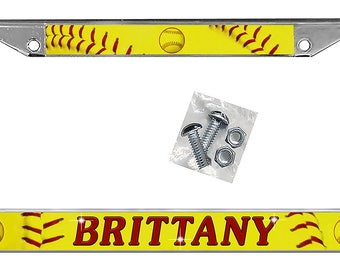 Softball Auto License Plate Frame Personalize Gifts Any Name Teams Sports Men Ladies Auto Car Accessories