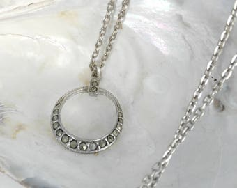 Marcasite Pendant -Bridesmaid Gift - Gift for Women - Small Circle Pendant - Delicate Pendant - Wedding Jewelry - Mother's Day Gift