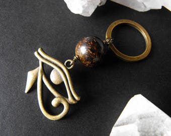Eye of Horus Egyptian Charm and Bronzite Keyring