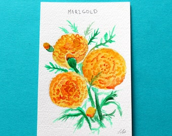 Marigold flowers original watercolor. Minimalist flower art. Orange flowers painting. One of a kind illustration. 4x6 inches