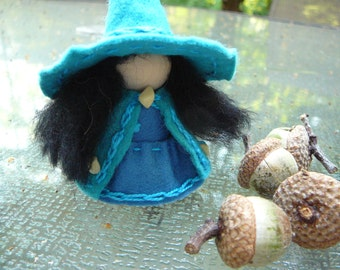Blue Wool Felt Witch, Peg Doll Witch, Waldorf Inspired, One of a Kind, Minature Witch