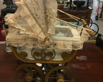 Vintage Baby Doll Wicker and Lace Carriage