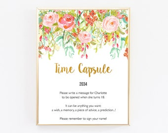 Time Capsule First Birthday, Birthday Decorations For Her, Birthday Decor, First Birthday Girl Decoration, Custom, Personalized, Floral