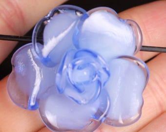 Blue rose focal lampwork bead Pendant