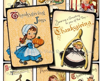Printable Thanksgiving Digital Collage Sheet, Instant Download, Vintage graphics cute for tags, place cards, decor...