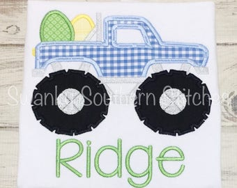 Easter Egg Monster Truck Applique Shirt - Easter Shirt - Easter Embroidery - Monster Truck