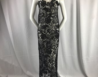 Fascinating black Light weight Guipure design-prom-nightgown-decorations-dresses-fashion-apparel-sold by the yard.