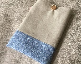 Handmade natural colour canvas and blue liberty print ipad sleeve, ipad air, 9.7 and pro 10.5