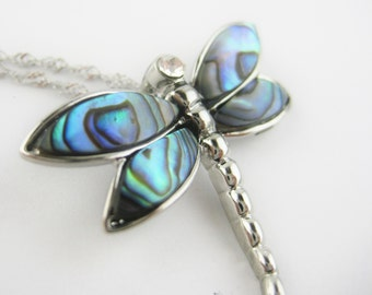 Sterling Silver Dragonfly Necklace - Abalone Jewelry - Dragon Fly Jewelry - Abalone Shell Necklace Pendant - Christmas Gift For Her Under 25