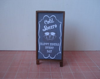 Dollhouse miniature  blackboard,  Miniature pub chalkboard, one inch 1:12 scale menu, Miniature beer sign