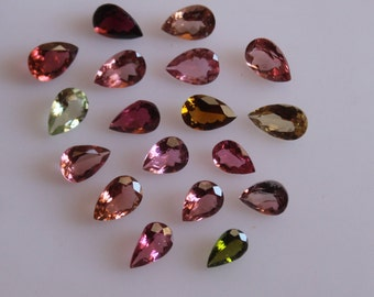 3x5  mm Pear Multi-Color Tourmaline Faceted AAA Quality-Top Quality Tourmaline