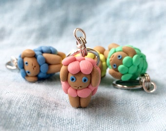 Spring Sheep Stitch Markers Polymer Clay Miniature Pastel Sculpted Ewe Charms Knit Crochet Accessories Stitch Trackers Flock of 4