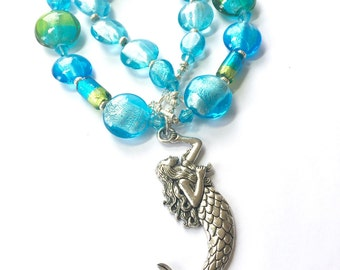 Mermaid necklace - aqua and blue beach necklace - mermaid jewelry