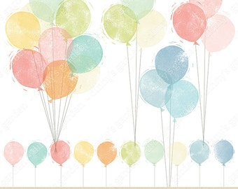 BALLOONS, Stamped Digital Embellishments Clip Art | bunch, single, row, string, bow, helium