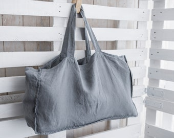 Linen Shopping Bag, Beach Bag, LARGE Natural LINEN Tote Bag, Large Tote Bag, Market bag, Linen Bag, Bag with pocket inside, Eco bag