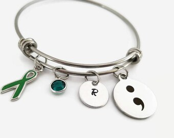 Semicolon bangle - Charm bracelet - adjustable bangle bracelet - personalized jewelry