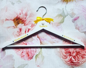 Custom wedding dress hangers. Personalised bridal hanger with name role and date. Bridesmaid wedding gift. Wooden coat hanger.