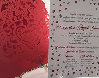 Quinceanera Invitations. Red and silver quince invite. Laser Cut Invitation. Glitter Quinceanera Invite.