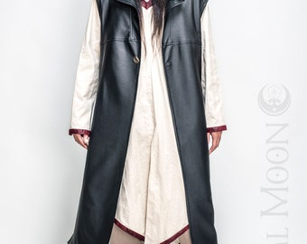 "NEW: Men's Black Matte Faux Leather ""Druid Duster"" REVERSIBLE to Black or Red by Opal Moon Designs (Size S-XXL)"