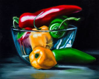 Small Original Glass Bowl of Hot Peppers Oil Painting on 8x8 Stretched Canvas Home Decor Still Life
