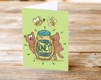 Honey Bees Bears Valentines Day Anniversary Love sweet cute Greeting Card