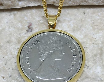1978 40th birthday Old style Five pence coin pendant - Choice of Colour