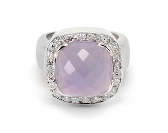 14k Diamond Ring Blue Chalcedony Estate Designer White Gold