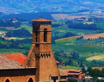 Travel Photography - Tuscan Church in San Gimignano, Italy - Italian, Landscape, European, Fine Art Photography