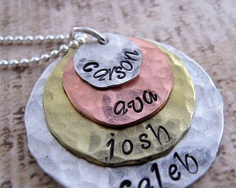 Fancy Stacked Mixed Metal Extra Large hand stamped mothers necklace