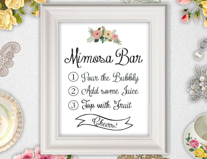 Amazing image with regard to free printable mimosa bar sign
