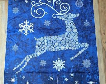 Stonehenge-Reindeer Prance Blue Panel Cotton Fabric Designed by Deborah Edwards for Northcott