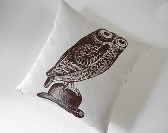 Owl on Bowler silk screened cotton canvas throw pillow 18 inch brown