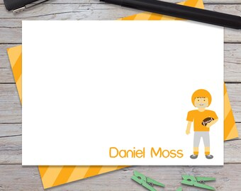 Personalized Football Stationary, Boys Sports Note Cards, Custom Thank You Notes, Kids Notecards, Stationery Set for Boy, Rugby (1708-023FL)