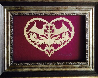 PAPER CUT Deer in Heart, ORIGINAL Art Handmade Scherenschnitte, Fits 5x7 frame