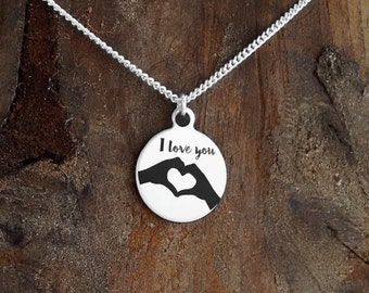 HAPPY HANDS NECKLACE - Jewelry, Necklaces, love necklace, heart jewelry, hand hearts, i love you, etched jewelry, under 25 dollars