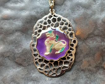 Burma - Cat Coin Pendant - Hand Painted